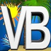 VB Logo with the sun, and blue sky background