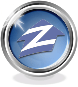 Large Zillow real estate site logo. A blue circle with white letter Z